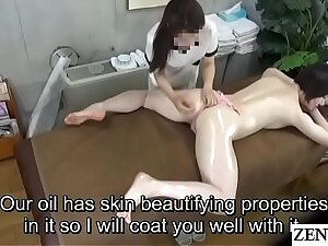 Girth Japanese milf minded oil massage with Subtitles