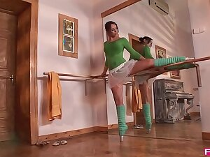 Aleska Diamond is a sweltering ballerina that gives blowjobs in XXXtreme poses