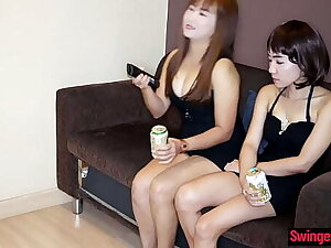 Inferior lesbian Asian MILFs on no account dildos on each time others pussy