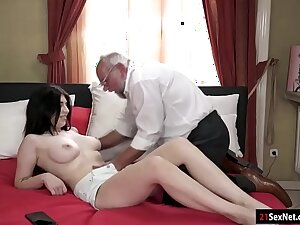 Busty 19yo Russian Sheril Blossom swell up off and rides grandpa