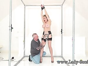 Nipper Sonia handcuffed and teased with a vibrator