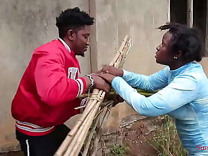 A blind woman went to fetch some firewood in the bush, a regional prince came to assist her then took her home for a nice fuck